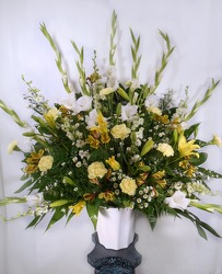 Yellow And White Altar Arrangement from Carl Johnsen Florist in Beaumont, TX