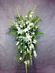 All White Standing Spray  from Carl Johnsen Florist in Beaumont, TX