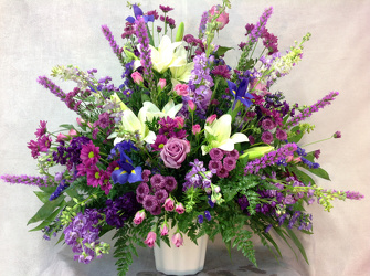 Shades Of Purple Altar Arrangement  from Carl Johnsen Florist in Beaumont, TX