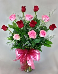 One Dozen Pink And Red Roses  from Carl Johnsen Florist in Beaumont, TX