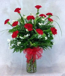 Red Carnations Vase Arrangement  from Carl Johnsen Florist in Beaumont, TX