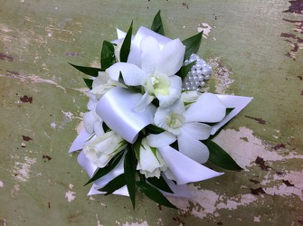 White Orchid Wrist Corsage from Carl Johnsen Florist in Beaumont, TX