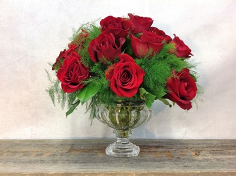 Classic Compote of Red Roses from Carl Johnsen Florist in Beaumont, TX