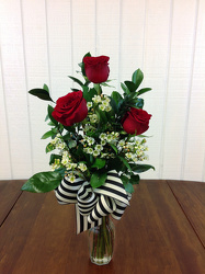 3 Red Roses from Carl Johnsen Florist in Beaumont, TX