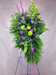 Purple Lavender And Green Standing Spray from Carl Johnsen Florist in Beaumont, TX