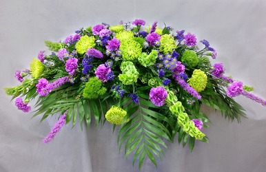 Purple Lavender And Green Casket Cover from Carl Johnsen Florist in Beaumont, TX