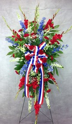 Red, White, And Blue Standing Spray  from Carl Johnsen Florist in Beaumont, TX