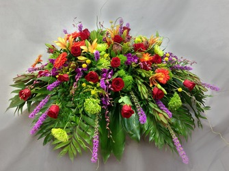 Vivid Sentiments Casket Cover from Carl Johnsen Florist in Beaumont, TX