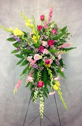 Colorful Standing Spray  from Carl Johnsen Florist in Beaumont, TX