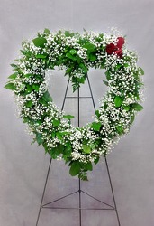 Baby's Breath Heart Wreath from Carl Johnsen Florist in Beaumont, TX