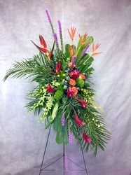 Tropical Sunset Standing Spray  from Carl Johnsen Florist in Beaumont, TX
