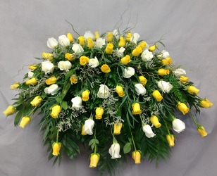 Yellow And White Rose Casket Cover from Carl Johnsen Florist in Beaumont, TX
