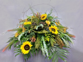 Sunflower Fields Casket Spray from Carl Johnsen Florist in Beaumont, TX