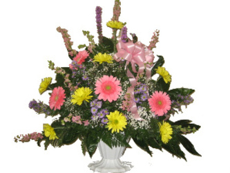 Shades of Spring Funeral Basket from Carl Johnsen Florist in Beaumont, TX