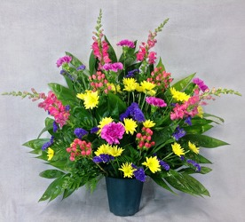 Pink And Yellow Altar Arrangement  from Carl Johnsen Florist in Beaumont, TX