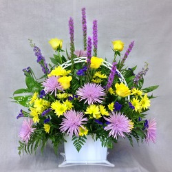 Purple And Yellow Basket  from Carl Johnsen Florist in Beaumont, TX