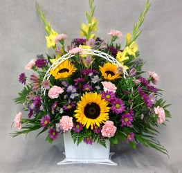 Sunny And Sweet Funeral Basket  from Carl Johnsen Florist in Beaumont, TX