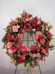 Precious Pink Wreath from Carl Johnsen Florist in Beaumont, TX