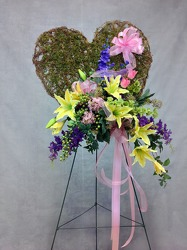 CJS454 Silk Moss Covered Heart from Carl Johnsen Florist in Beaumont, TX