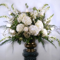 Elegant White Altar Arrangement  from Carl Johnsen Florist in Beaumont, TX