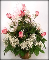 Dozen Pink Roses In Basket from Carl Johnsen Florist in Beaumont, TX