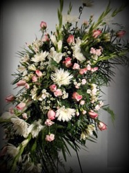 Lovely Pink And White Spray  from Carl Johnsen Florist in Beaumont, TX