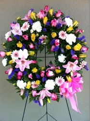 Bright Spring Wreath from Carl Johnsen Florist in Beaumont, TX