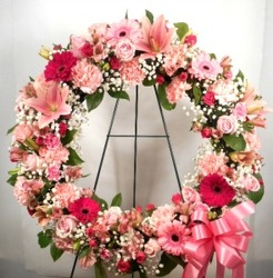 Shades of Pink Wreath from Carl Johnsen Florist in Beaumont, TX