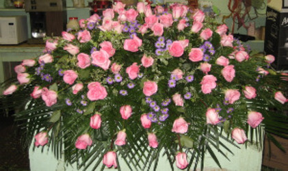 Heavenly Pink Rose Casket Cover  from Carl Johnsen Florist in Beaumont, TX
