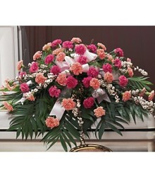 Two-Tone Pink Casket Spray  from Carl Johnsen Florist in Beaumont, TX