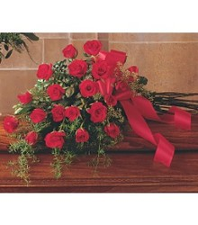 Teleflora's Red Rose Casket Spray from Carl Johnsen Florist in Beaumont, TX