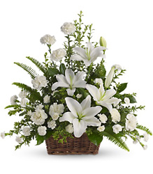 Peaceful White Lilies Basket from Carl Johnsen Florist in Beaumont, TX