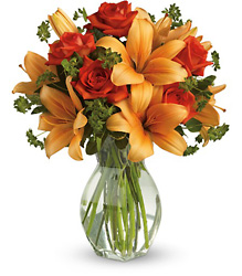 Fiery Lily and Rose from Carl Johnsen Florist in Beaumont, TX